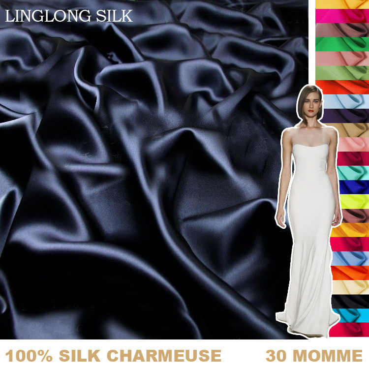 100% SILK CHARMEUSE SATIN 114cm width 30momme Pure Silk Fabric Wedding Dress Sewing Fabric for crafts silk for dress shirt 50-59
