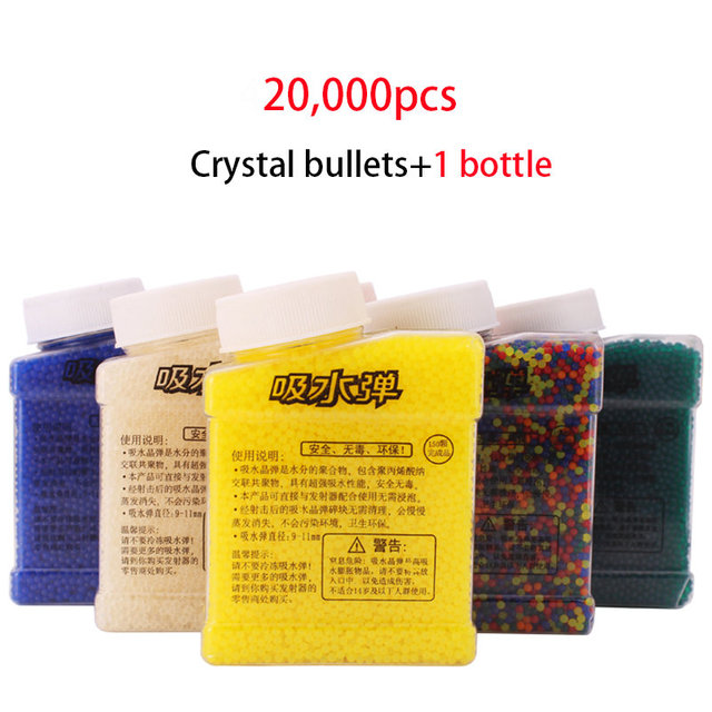 1 Bottle and 20000 pcs Crystal Water Bullet Paintball Gun Color Crystal Bullet Mud Soil Water Toy Guns Orbeez Toys For Kids