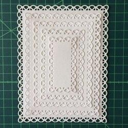 5 sztuk sznurowane ramka prostokątna zestaw metalu wykrojniki do scrapbookingu DIY tworzenie albumów na zdjęcia dekoracyjne wzornik nowy 2019|Matryce do wycinania|   -