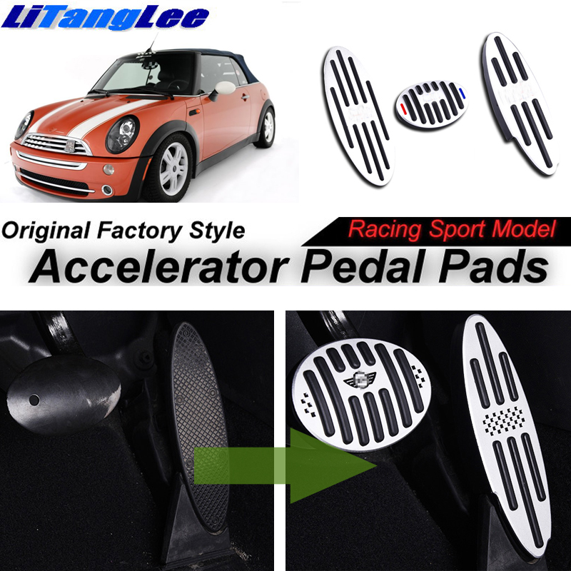 LitangLee Car Accelerator Pedal Pad Cover For Mini One First Cooper Hatch Convertible R50 R52 R53 2000~2008 AT Foot Throttle litanglee car accelerator pedal pad cover racing sport for mini cooper clubman r55 f54 2007 onwork at foot throttle pedal cover