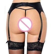 Women's Leather Garter Belt with G-string