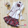 Moda chica uniforme escolar Japonés uniforme escolar A Cuadros para las niñas Corea Del uniforme escolar otoño manga completo uniforme