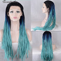 Ombre Blue Green Braiding Wigs Synthetic Lace Front Wig Straight Heat Resistant Hair Natural Black Blue Big Box Braids Wig