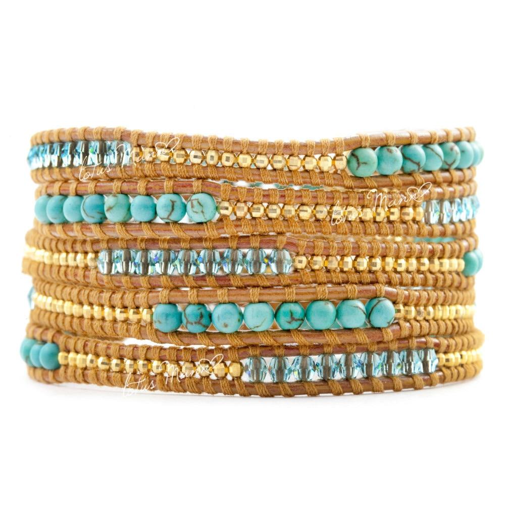цена Lotus Mann bead hoard of crystal lake blue knitted 5 natural ecru leather cord bracelet онлайн в 2017 году