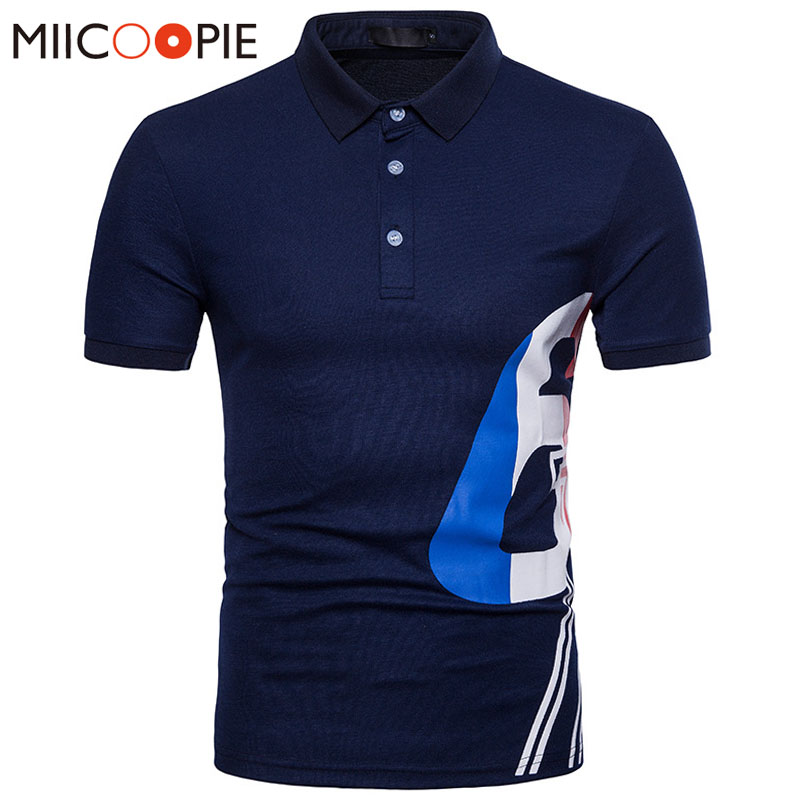 2018 Summer Men   Polo   Shirt Business Casual Breathable Digital Printing Short Sleeve   Polo   Shirt Cotton Work Clothes   Polos   XXL
