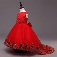Girls sleeveless Princess Party Dress bow Lace wedding dress girl long red dress