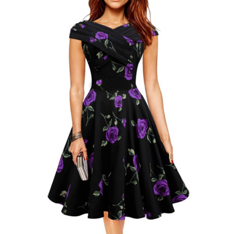 The Goddesses Store Elegent Women Retro 50s 60s Rockabilly Dresses Casual Party Cocktail Flared Swing Dress Vestido