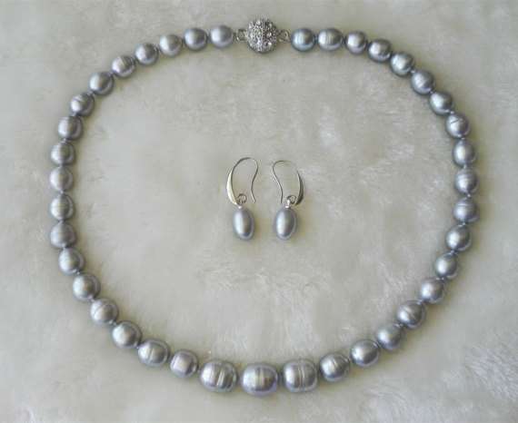 Charming Pearl Jewellery Set Gray Color Aa 9 11mm Real