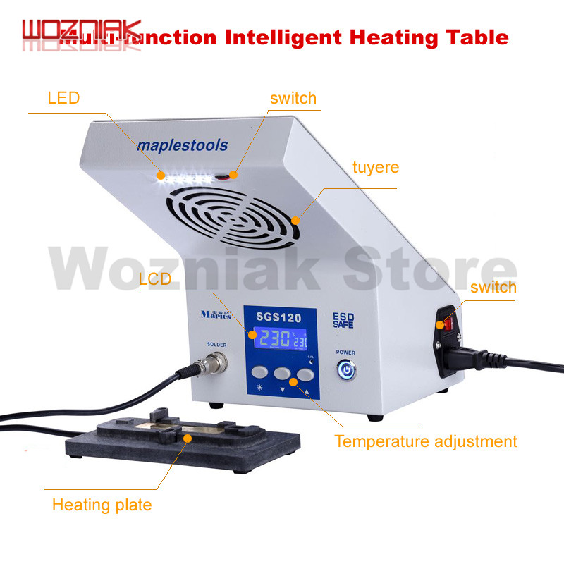 3IN1 intelligent heating table demolition welding platform A8 A9 A10 CPU NAND BGA Mainboard Rework Platform For iPhone 8P 7 6s wozniak ppd w3120 a8 a9 a10 intelligent maintenance cooling platform motherboard fixture for iphone 6 6s 7 plus cpu bga reball