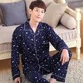 Primavera e no inverno temporada impressão dos homens de manga longa pijama de algodão Pijamas treino dos homens XL Definir juventude