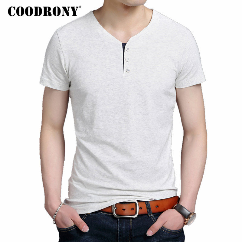 COODRONY Brand Button Henry Collar   T     Shirt   Men Summer New Pure Cotton Short Sleeve   T  -  Shirt   Men Solid Color Casual Tee Homme 2253