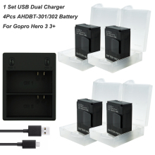 4Pcs 1600mAh Go pro hero3 Battery AHDBT-301 + USB Dual Charger for GoPro Hero3 3 Hero 3+ Camera Accessories