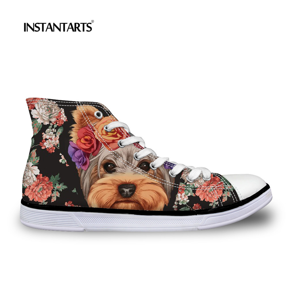 INSTANTARTS High-top Canvas Shoes Women Summer Casual Lace Up Vulcanize Cute Yorkie Terrier Flat Shoe 3D Pet Dog Print Zapatilas e lov women casual walking shoes graffiti aries horoscope canvas shoe low top flat oxford shoes for couples lovers