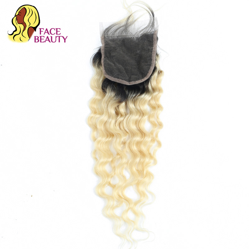 Facebeauty Ombre 1B 613 Blonde 2 Tone Dark Roots Brazilian Curly Closure Bleached Knots 22 Inch