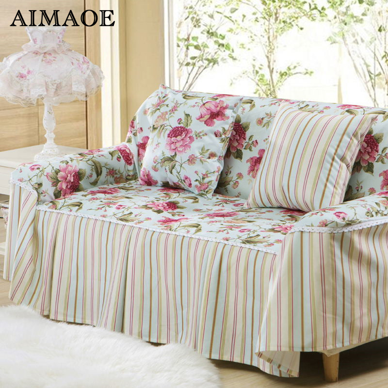 Polyester Amp Cotton Pastoral Plaid Sofa Cover Corner Sofa