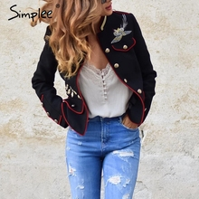 Simplee Embroidery military jacket women outerwear & coats 2016 autumn winter jacket coat female Vintage pockets basic jackets
