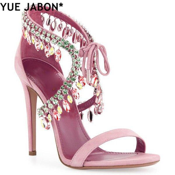 Luxury Diamond Crystal Embellished Fringed Suede Gladiator Sandals Women Ankle Tie Stiletto High Heels 10cm Women