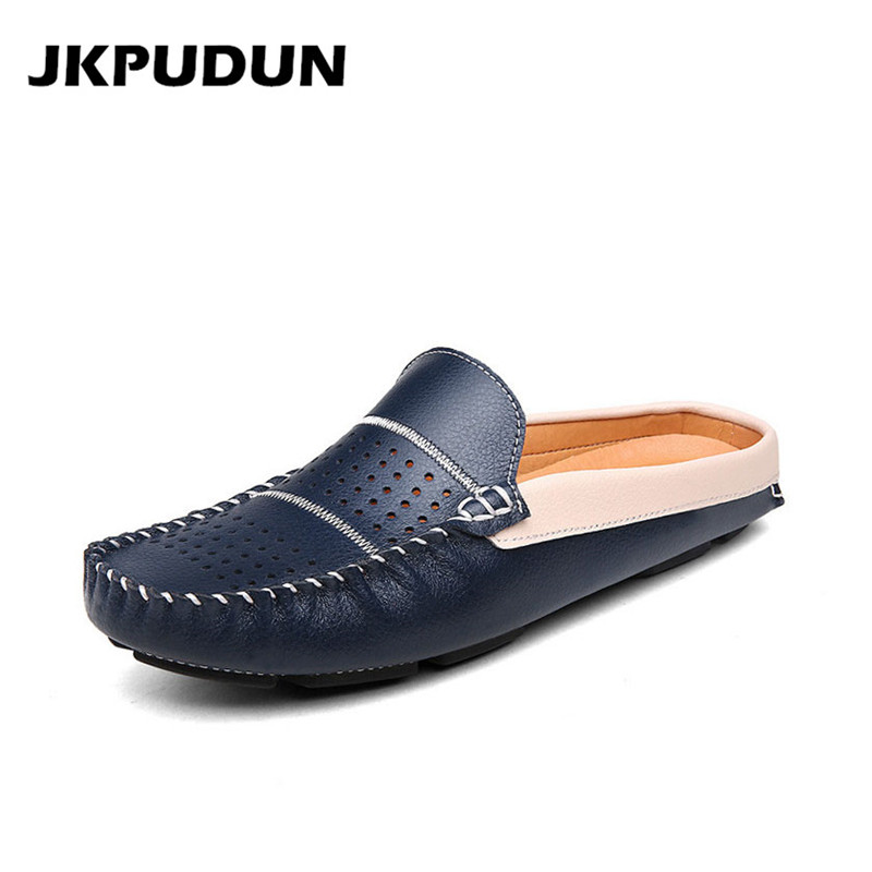 JKPUDUN Summer Half Shoes For Men Loafers Italian Fashion