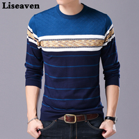 Liseaven мужской свитер с круглым вырезом повседневные Полосатые свитера осень зима Брендовые мужские пуловеры
