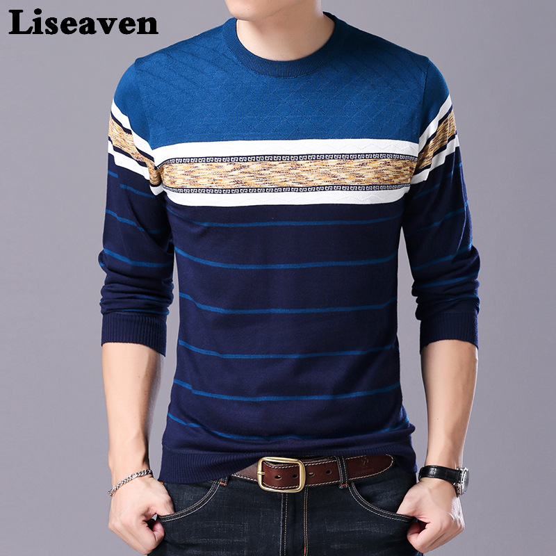 Liseaven Men Sweater O-Neck Casual Striped Sweaters Autumn Winter Brand Mens Pullovers