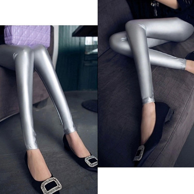 Sexy Plus Size PVC Shiny Faux Leather Pencil Pants Tight Gothic Pencil Hot Pants Capris Sexy For Women F68