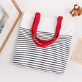 Free Shipping Casual Canvas Shopping Bags Red Black Color with Striped Pattern Handbags Shoulder Bags Shopping Bag E02