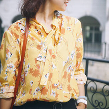 EQ 100% silk yellow flower print long sleeve ladies ribbon bow shirt women soie blouse spring autumn