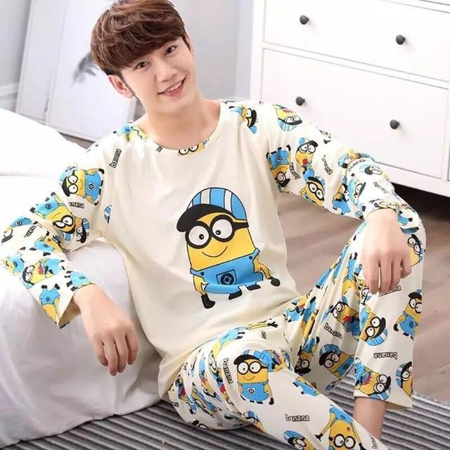Yidanna Men Pajamas Set Cotton Sleepwear Cartoon Print Nightwear Long Sleeved Sleep Clothing Casual Nighties Autumn Male Lounge 1