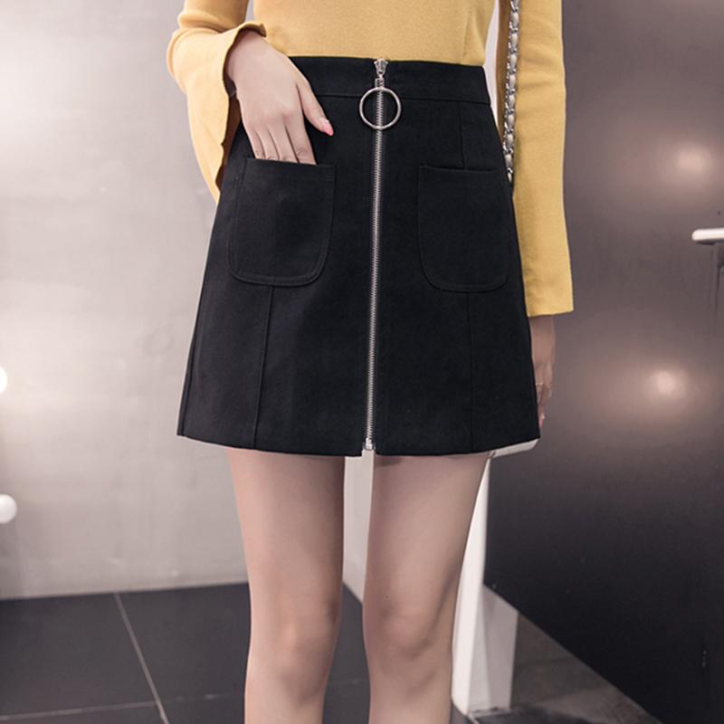 HTB1LT.2jEF7MKJjSZFLq6AMBVXaG - Suede Skirt Fashion High Waist Zippers JKP343