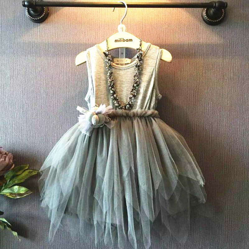 где купить Yacodi Girls Clothes 2017 Summer Girl Dress Casual Grey Cotton Party Sleeveless Princess Dress Children's Dresses kids Clothing по лучшей цене