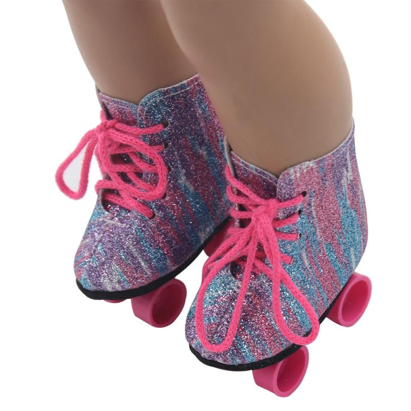 Glitter Doll Roller Skates For 18 Inch Our Generation American Girl Doll Y0420 ...