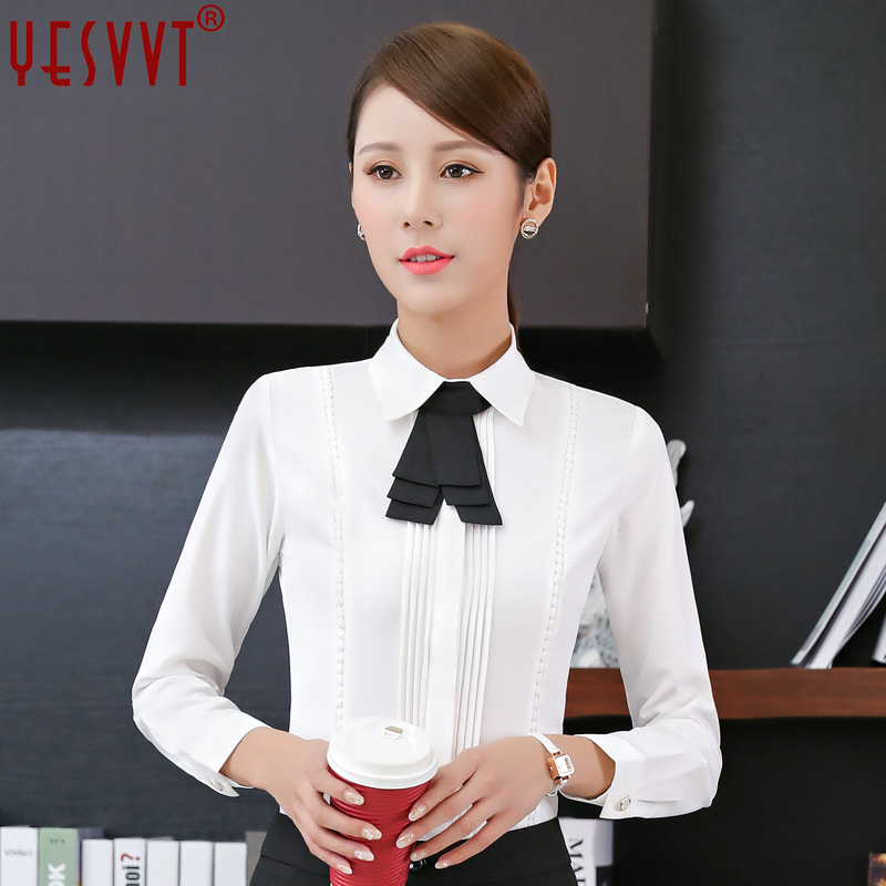 yesvvt 2017 new women clothing long sleeve shirt OL elegant bow tie Formal chiffon blous ...
