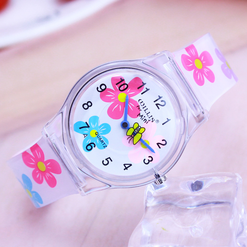 Willis Summer New Brand Children Students Fashion Quartz Watches Kids Soft Waterproof Sports Heart Butterfly Wristwatches