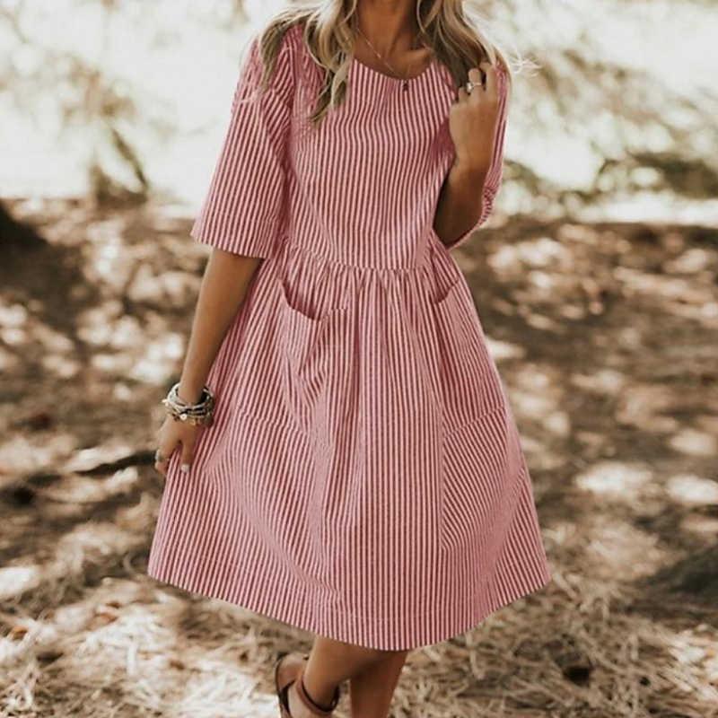 Lipswag décontracté O cou demi manches robe de soirée femmes 2019 été rayé Sundress élégant Baggy poches Femme robes surdimensionnées