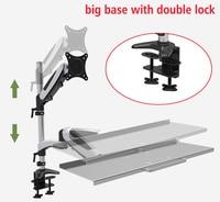 DL JF01 big base Ergonomic aluminum gas spring full motion 13 27 screen Sit stand desk keyboard rack