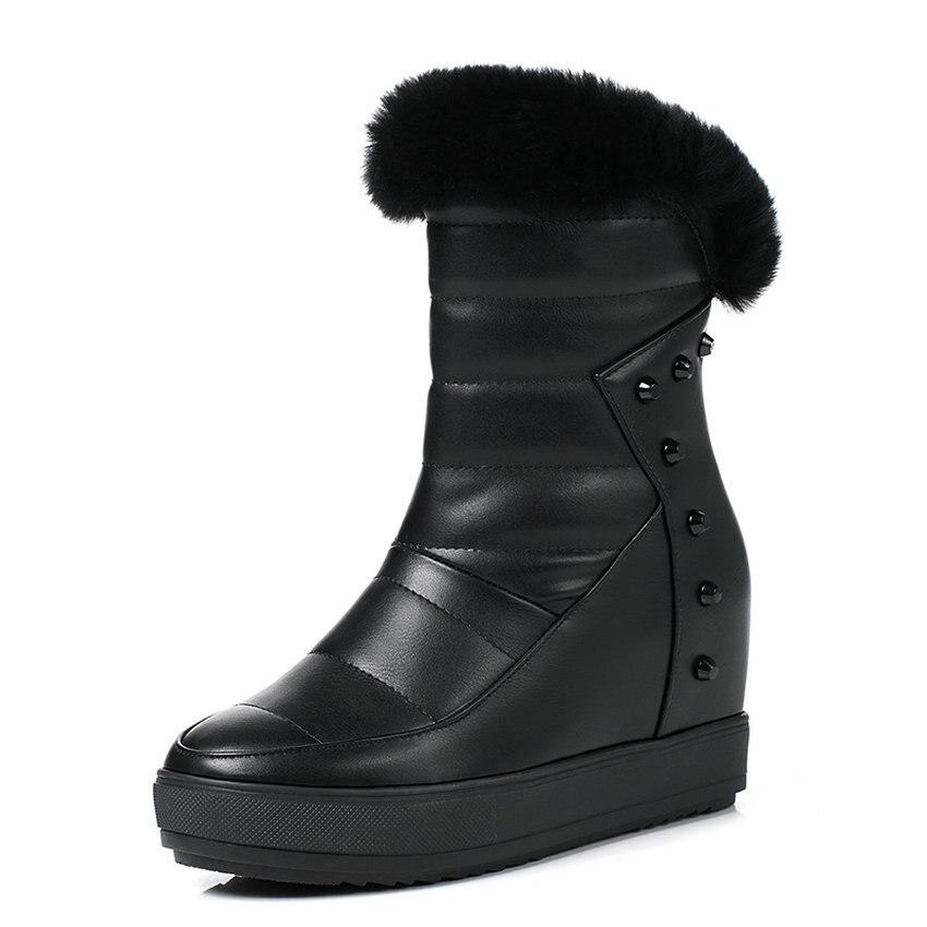 QUTAA 2018 Women Mid Calf Boots Fashion Wnter Snow Boots Zipper Design Short Plush Round Toe Wedges Heel Women Boots Size 34-39 big size 34 43 advanced nubuck leather mid calf fashion round toe wedges boots for women 5 color new women boots