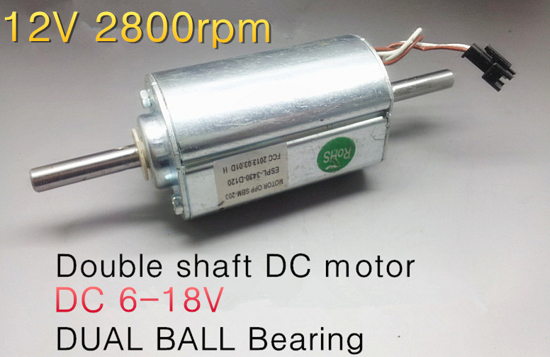 Used Double Shaft Dc Motor 12v 2800rpm Dual Ball Bearing