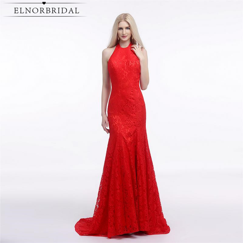 Red Sexy Backless Lace Prom Dresses Floor Length 2017 Robe De Bal Formal Mermaid Evening Gowns Special Occasion Party Dress