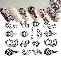 1 blätter Wasser Transfer Nagel Aufkleber Muster Einfache Schwarz Designs DIY Mode Tipps Für Nail art Wasserzeichen Decor TRSTZ638-658