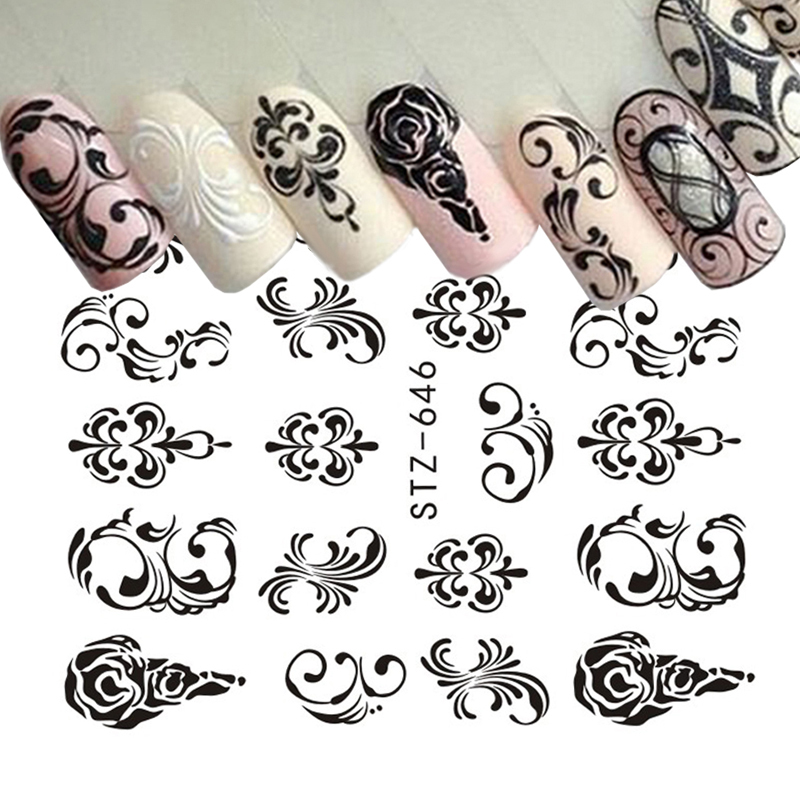 1 Sheets Water Transfer Nail Stickers Pattern Simple Black Designs DIY Fashion Tips For Nail Art Watermark Decor TRSTZ638-658