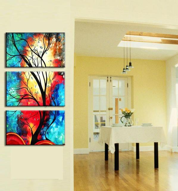 NEW Painted Painting Oil art color scrawl tree Canvas Beautiful 3 ...