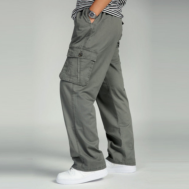 Plus Size Big Men Cargo Pants Casual Men Elastic Waist Multi Pocket Overall Cotton Pants Male Long Baggy Large Trouser 5XL 6XL