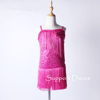 Girls Women Sequin Tassel Camisole Latin Dress Kids Adult Dance Performance Costume C131