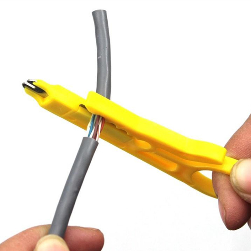 1 Piece 9cm Mini Strippers Network Cable Plier Yellow UTP STP Cable Cutter Telephone Wire Stripper 2 in 1 round multifunction graduated cutting cable strippers rasp dremel 2016