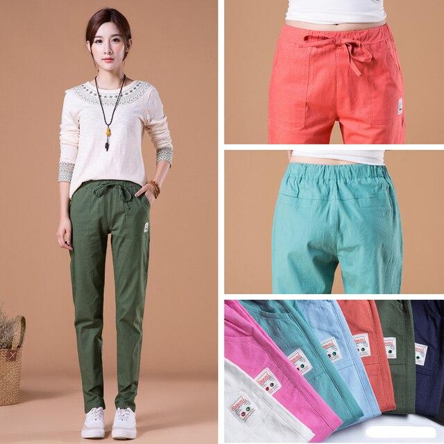 Summer Loose Cotton Linen Pants for Women Trousers Casual Solid Color Women Harem Pants Plus Size