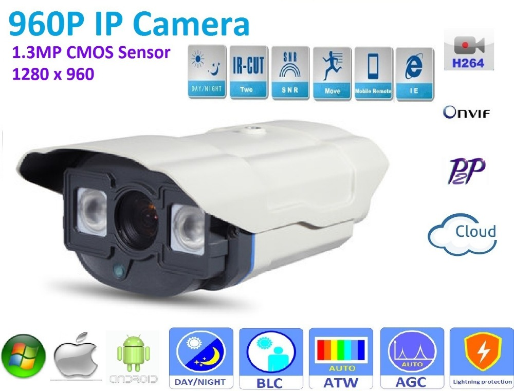 New type 1280*960P 1.3MP Mini Bullet 960P IP Camera ONVIF H.264 P2P Waterproof  In/Outdoor IR CUT Night Vision Plug and Play, bullet camera tube camera headset holder with varied size in diameter