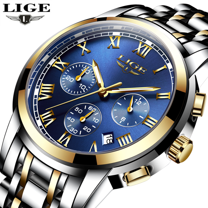 relogio masculino LIGE Mens Watches Top Brand Luxury Sport Quartz Watch Men Business Full steel Clock Man Waterproof Wristwatch migeer relogio masculino luxury business wrist watches men top brand roman numerals stainless steel quartz watch mens clock zer