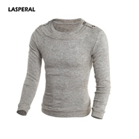 LASPERAL 2017 New Autumn Tide Business Casual O Neck Knitwear Solid Pullovers Male Sweaters Slim Fit