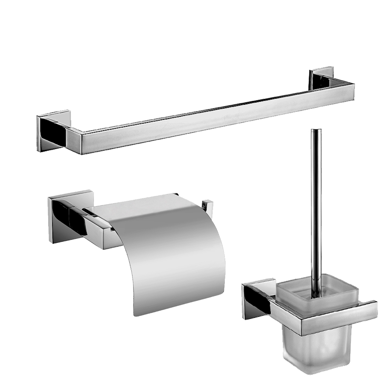 Contemporary Silver Polish Smooth Wall Mounted Bright Surface Chrome Bathroom Hardware Set Towel Rack Toilet Paper Holder In Bath Sets From Home