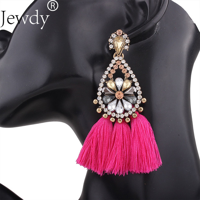 Jewdy Tassel Charms Earrings Rhinestone Hoop Earrings for Women Boho Bohemian Long Ethnic Handmade Fashion Jewelry Gifts